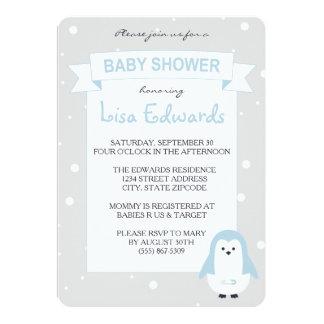 Convite do chá de fraldas do pinguim dos azuis