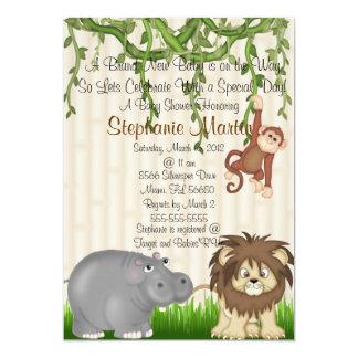 Convite do chá de fraldas do safari convite 12.7 x 17.78cm