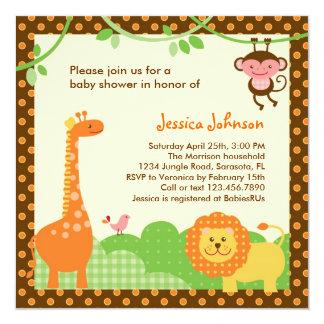 Convite do chá de fraldas do safari de selva convite quadrado 13.35 x 13.35cm