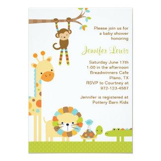 Convite do chá de fraldas do safari de selva da convite 12.7 x 17.78cm