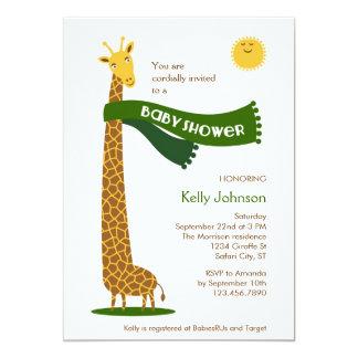 Convite do chá de fraldas do safari do girafa