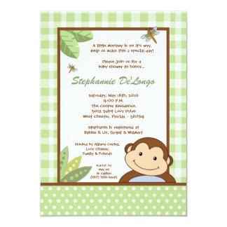 convite do chá de fraldas do safari do macaco de convite 12.7 x 17.78cm