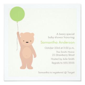Convite do chá de fraldas do urso de ursinho -