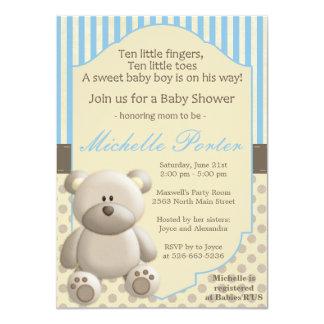 Convite do chá de fraldas do urso de ursinho para convite 11.30 x 15.87cm