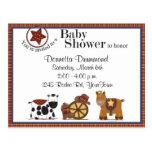 Convite do chá de fraldas do vaqueiro/vaqueira cartoes postais