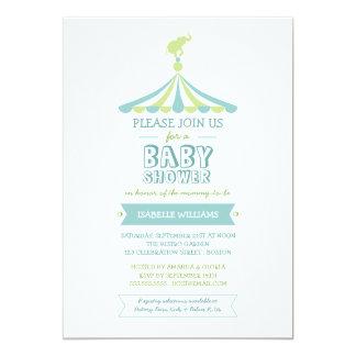 Convite do chá de fraldas do verde azul do convite 12.7 x 17.78cm