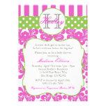 Convite do chá de fraldas do verde do rosa quente