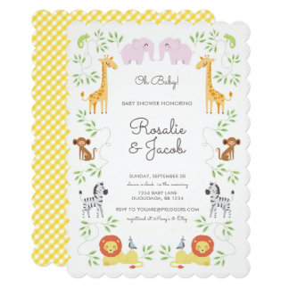 Convite do chá de fraldas dos animais da selva