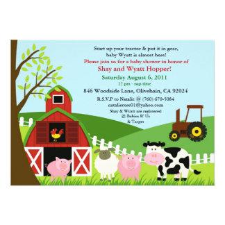 Convite do chá de fraldas dos animais de fazenda