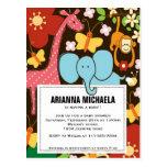 Convite do chá de fraldas dos animais do jardim zo cartão postal