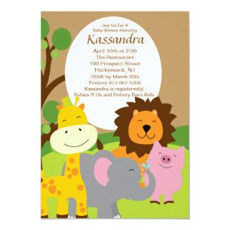 Convite do chá de fraldas dos animais do safari