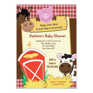 Convite do chá de fraldas dos bebês 5x7 da fazenda