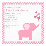 Convite do chá de fraldas dos corações do elefante