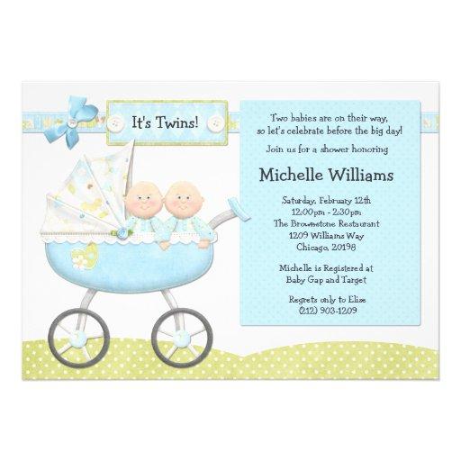 Convite do chá de fraldas dos gêmeos