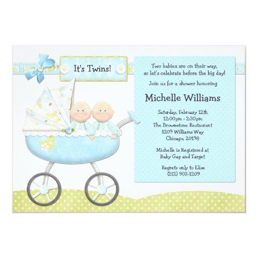 Convite do chá de fraldas dos gêmeos convite 12.7 x 17.78cm