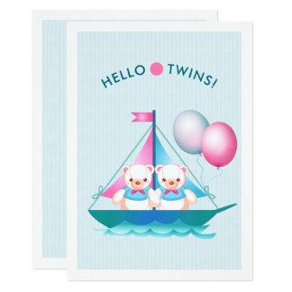 Convite do chá de fraldas dos meninos do gêmeo do