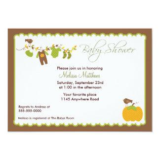 Convite do chá de fraldas dos meninos do outono