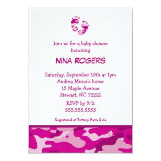 Convite do chá de fraldas dos pés do rosa quente