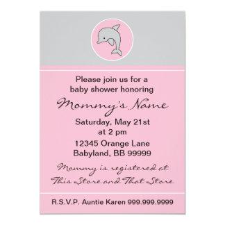 Convite do chá de fraldas. Golfinho cor-de-rosa.