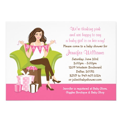 Convite do chá de fraldas para a menina