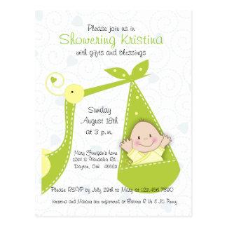 Convite do chá de fraldas para o bebé com cegonha
