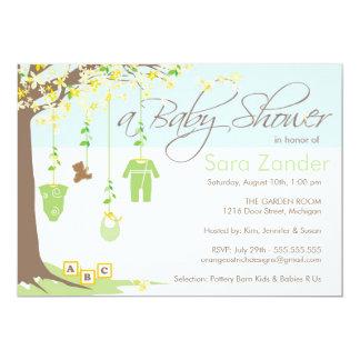 Convite do chá de fraldas - roupa do bebê convite 12.7 x 17.78cm