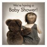Convite do chá de fraldas - urso e bebê de ursinho
