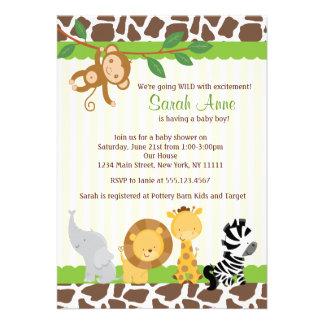 Convite do chá do bebé da selva do safari