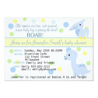 Convite do chá do bebé do dinossauro customizável convite 12.7 x 17.78cm
