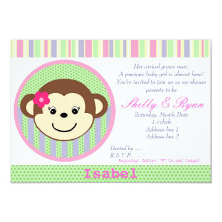 Convite do chá do bebé do macaco convite 12.7 x 17.78cm