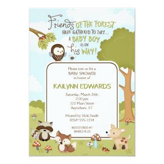 Convite do chá do bebé dos amigos da floresta