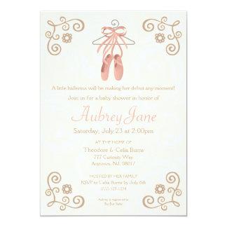 Convite do chá do bebé dos calçados da bailarina