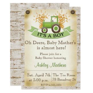 Convite do chá do bebé - trator verde