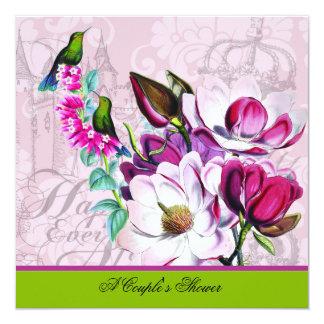 Cartão Convite do chá do casal das magnólias dos colibris