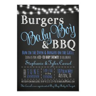Convite do chá do CHURRASCO do bebé do hamburguer