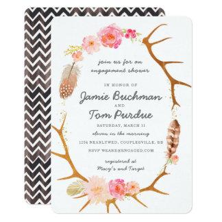 Convite do chá do noivado do Antler de Boho