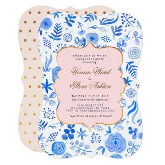 Convite do chá do noivado do azul francês