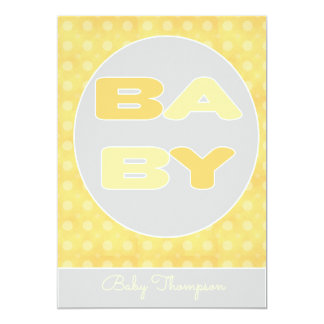 Convite do chá do texto do bebê (amarelo)