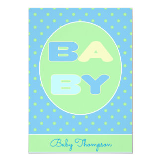Convite do chá do texto do bebê (azul)