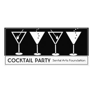 Convite do cocktail do vintage 10.16 x 22.86cm panfleto