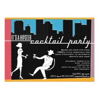 Convite do cocktail dos anos 60 do hipster