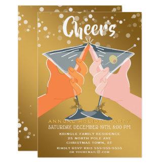 Convite do cocktail dos elogios do feriado do ouro