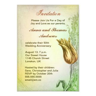 Convite do comensal do aniversário com tulipa do convite 12.7 x 17.78cm