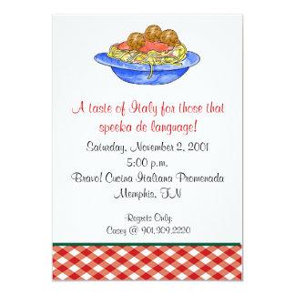 Convite do comensal dos espaguetes