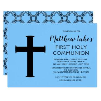 Convite do comunhão da cruz elegante primeiro para