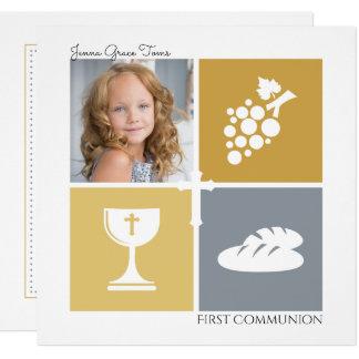 Convite do comunhão da foto primeiro