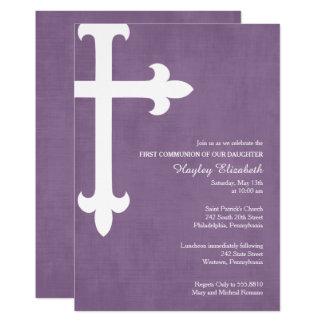 Convite do comunhão da grande cruz primeiro, roxo