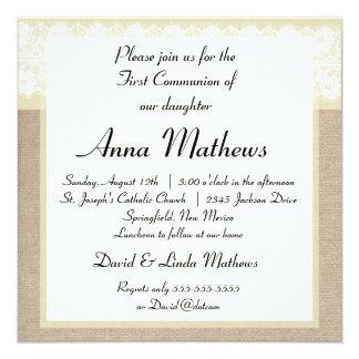 Convite do comunhão de serapilheira bege elegante