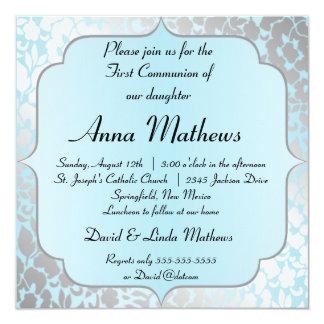 Convite do comunhão do azul metálico elegante