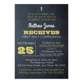 Convite do comunhão do ouro do quadro primeiro